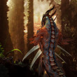 Dragon in the magic forest - Stock Photo