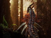 Dragon in the magic forest — Stock Photo
