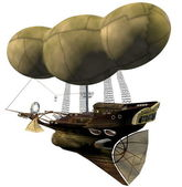 Steampunk airship — Stock Photo