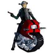 Girl on a crawler motorcycle with a gun — Stock Photo