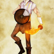 Young warrior with his shield and flaming sword, colored - Stock Photo