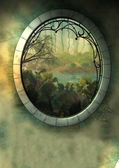 Drawn fantasy landscape with frame — Stock Photo
