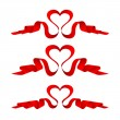 Ribbon red heart set — Stock Vector