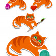 Complete set of cheerful red kittens — Imagen vectorial