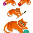 Complete set of cheerful red kittens — Image vectorielle