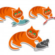 Playful Cats With Food — Stock Vector #26514575