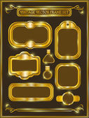 Vintage gold frame labels set. — 图库矢量图片
