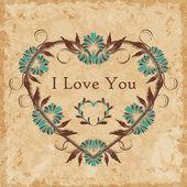 Floral heart on grunge vintage wallpaper background — Stock Vector