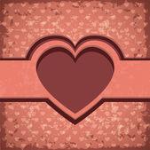 Cartolina d'epoca con cuore rosso — Vettoriale Stock