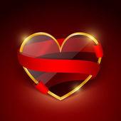 Corazón de cristal en un marco dorado con una cinta roja — Vector de stock