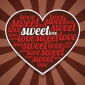 Sfondo di strisce di san valentino con parole di cuore e rosso di carta — Vettoriale Stock