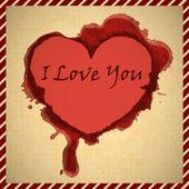 Manchas de sangre en forma de corazón en papel antiguo. — Stockvector