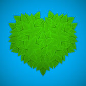 Green leaves heart — Stock Vector