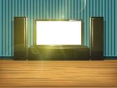 En la sala de cine en casa — Vector de stock