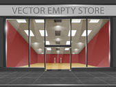 Shop with glass windows and doors, front view. — Stock Vector
