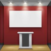 Röda rummet med tribune och vit skärm — Stockvektor