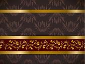 бесшовный цветочный фон с золотой фриз — Cтоковый вектор