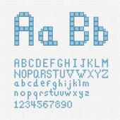 Alphabet set in pixel art style. — Stock Vector