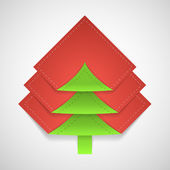 Paper vector green christmas tree — Stock Vector