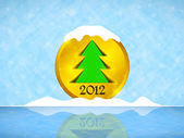 Christmas tree on the gold medal, and frozen lake with snow — Stock Vector