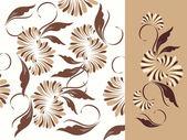 Elementos e plano de fundo padrão floral. — Vetor de Stock