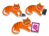 Kočka si hraje s elektronickými zařízeními — Stock vektor