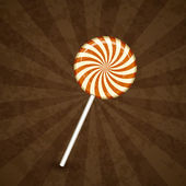 Sweet lollipop on striped spiral background — Stock Vector