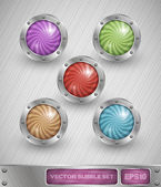 Shiny colorful glass bubble set in aluminum edging — Stock Vector