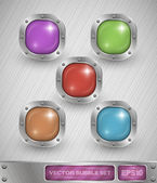 Shiny colorful glass bubble set in aluminum edging on metal background — Stock Vector