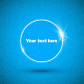 Глянцевый белый речи пузырь на синем фоне. — Cтоковый вектор