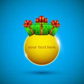 Círculo de oro con las cajas de regalo — Vector de stock