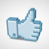 Thumb up icon in the style of pixel art. — Stock Vector