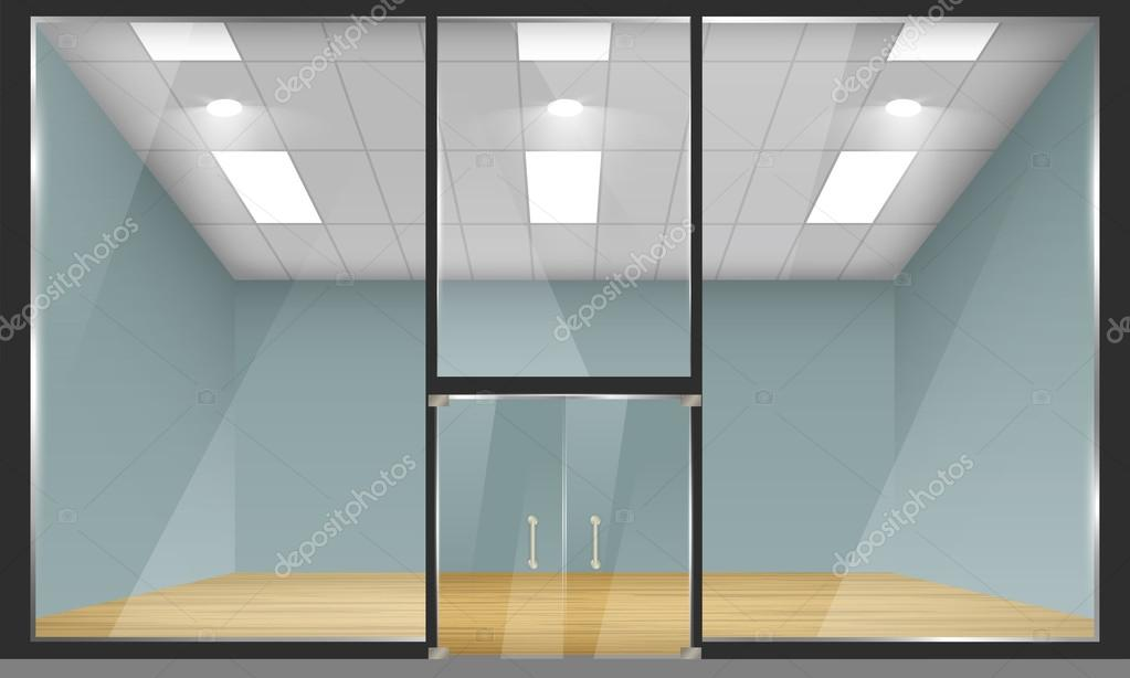 Shop with glass windows and doors front view stock for Window and door store