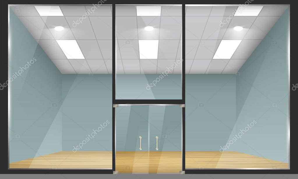Glass Doors And Windows : Shop with glass windows and doors front view — stock