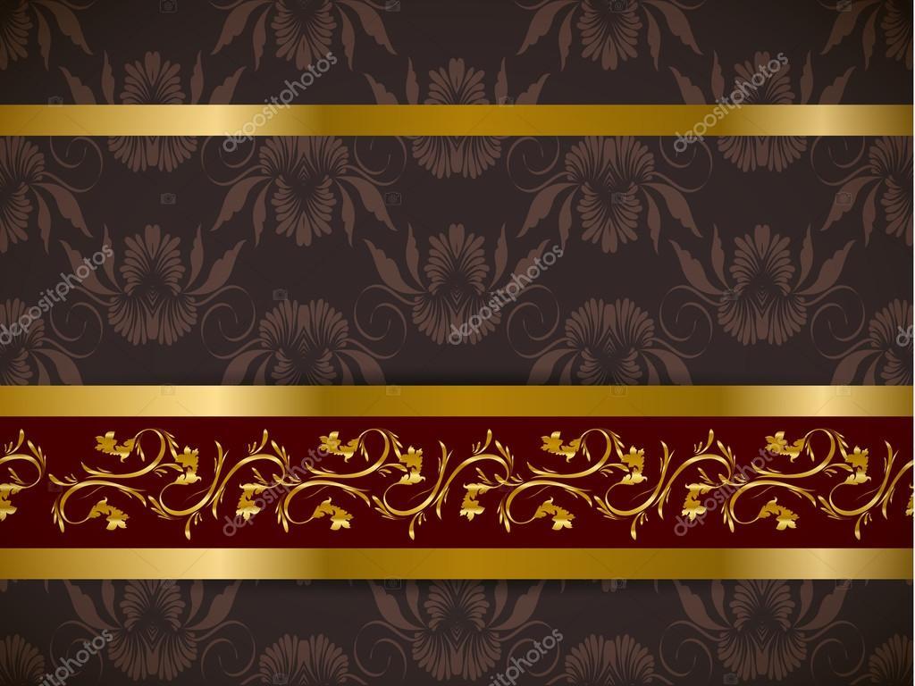 Fondo floral transparente con cenefa dorada vector stock - Friso de papel ...