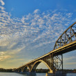 Bridge at Sunset Time, USA — Stock Photo