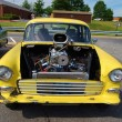 Stock Photo: 1960 Classic Yellow Car Engine