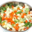 Colorful vegetables in a small pot — Stock Photo #24889277