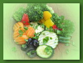 Assortment of fresh vegetables on wooden background — Stockfoto