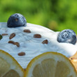 Yogurt with fruit on a board of oak in the garden — Stock Photo