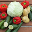 Various fresh vegetables, greens, isolated on white — Stock Photo