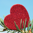Large shiny red heart — Foto Stock