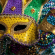 Mardi Gras Mask and Beads - Stock Photo