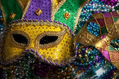 Mardi Gras Mask and Beads — Stock Photo