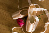 Ballet Shoes and Rose — Stock Photo