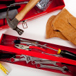 A Red Toolbox with miscellaneous tools - Stock Photo