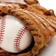 Baseball glove or mitt and ball — Stock Photo