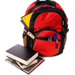 School Backpack Overflowing with supplies — Stock Photo