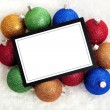 Stock Photo: Chrismas Notecard or message with baubles
