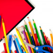 Assorted school supplies with notebooks — Stock Photo #13405978